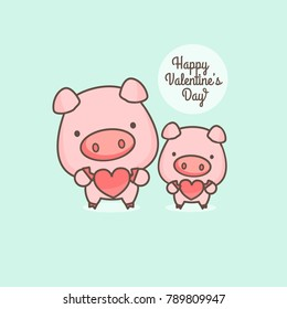 Cute pink pig cartoon character holding heart. Vector illustration.