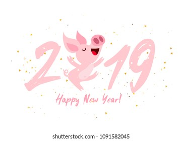 Cute pink pig. Happy New Year. Chinese symbol of the 2019 year. Excellent festive gift card. Vector illustration on white background.