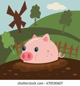 Cute pink pig is a mud puddle vector cartoon illustration. Farm animal.