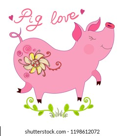 Cute pink piglet illustration on an isolated background in the form of a vector illustration. Pretty pig, which is in motion with cute pink ears and a twisted tail. Happy love pig with flovers.