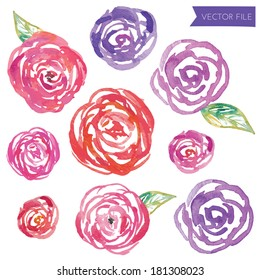 Cute Pink and Purple Abstract Round Roses Vector Watercolor Floral Blooms