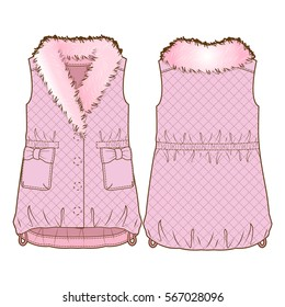 Cute pink quilted vest with fur collar