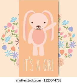 cute pink rabbit baby shower its a gril card