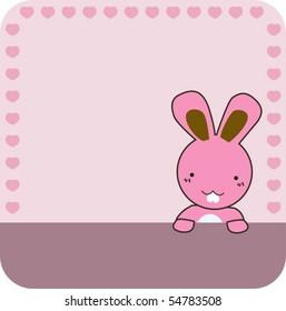 cute pink rabbit frame