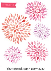 Cute Pink and Red Watercolor Vector Sunburst Flowers