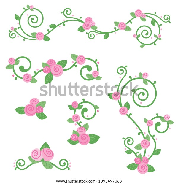 Cute Pink Rose Vine Design Elements Stock Vector Royalty Free