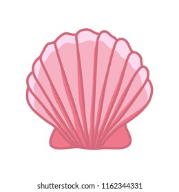Cute pink sea shell. Hand drawn illustration vector.