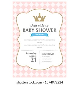 Cute pink templates for invitations. Vintage gold frame with crown. A little princess party. Baby shower, wedding, girl birthday invite card. Can be used for printing in A5 paper.