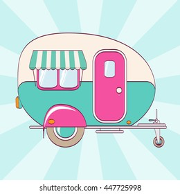 Cute pink and turquoise camper on a striped background. Vector illustration. Print on fabric, clothes, papers and posters.