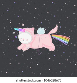 Cute pink unicorn cat with a rainbow and magical horn in the night sky, and stars. Funny flying comic character for design - postcards, stickers, kids textile, or t-shirts. Vector illustration.