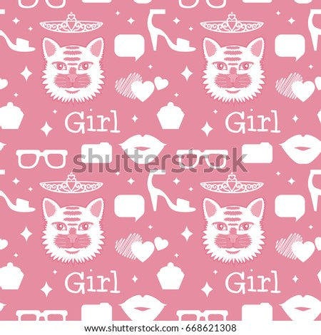 8ca18b866ae Cute Pink Vector Seamless Pattern Cats Stock Vector (Royalty Free ...