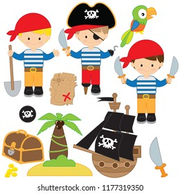Cute pirate boy vector cartoon illustration