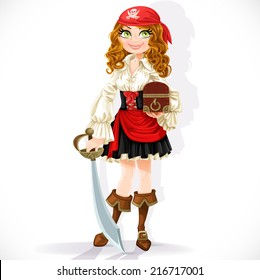 Cute pirate girl with cutlass and chest isolated on a white background