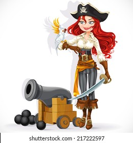 Cute pirate girl with parrot and cannonry isolated on a white background