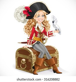 Cute pirate girl with parrot sit on big chest isolated on a white background