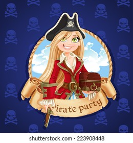 Cute pirate girl with treasure chest. Banner for Pirate party