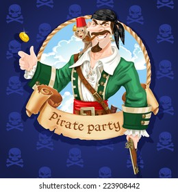 Cute pirate with monkey throw up golden coin . Banner for Pirate party