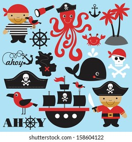 cute pirate objects collection. vector illustration