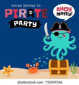 Cute pirate octopus under the sea with copy space for greeting/invitation card template