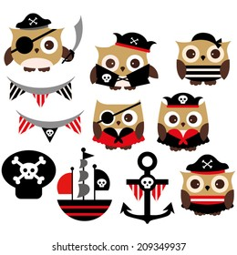 Cute pirate owls in red and black.