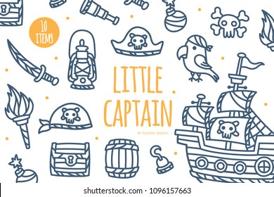 Cute Pirate Theme Element Graphics. Perfect for summer party, kids birthday party / nursery room decor, baby shower, invitation, branding, logo, wall art etc.