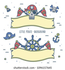 Cute Pirate Theme Graphics. Ribbon / background design.  Perfect for summer party, kids birthday party / nursery room decor, baby shower, invitation, branding, logo, wall art etc.