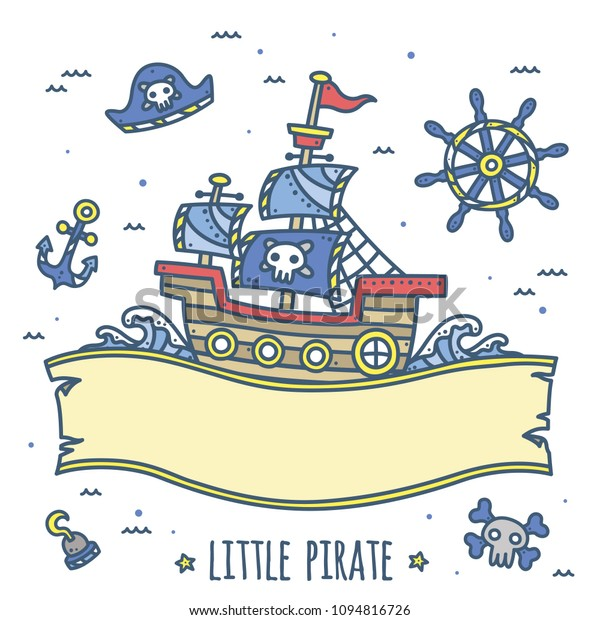 Cute Pirate Theme Graphics Ribbon Background Stock Vector Royalty Free 1094816726