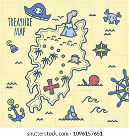 Cute Pirate Theme Graphics. Treasure and adventure map. Perfect for summer party, kids birthday party / nursery room decor, baby shower, invitation, branding, logo, wall art etc.