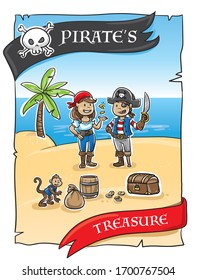 Cute pirate's invitation card for treasure hunt bithday party for children. Hand drawn cartoon sketch vector illustration, flat style coloring.