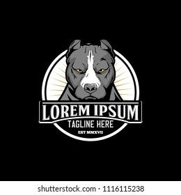 cute pitbull cartoon vector. Dog head logo template.