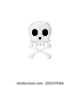 Cute Pixel art skull and bones. 8 bit style retro game pattern for halloween decoration. Vector. 90s style pixel Skeleton skull and cross bones.