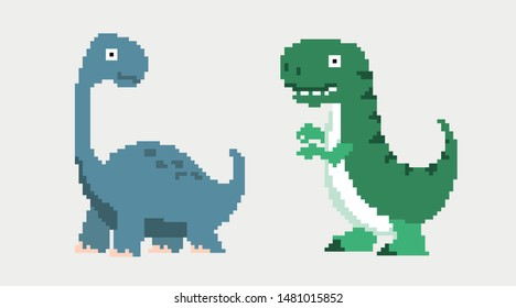 Cute pixel dinosaur isolated on white background, green animal, pixel predator, vector illustration with tyrannosaur, digital imaging with pixel icon