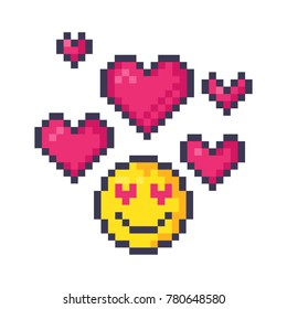Cute pixel hearts and emoticon in love. Pixel art vector illustration