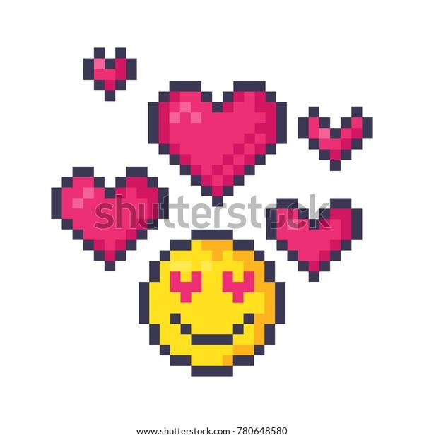 Cute Pixel Hearts Emoticon Love Pixel Stock Vector Royalty Free 780648580