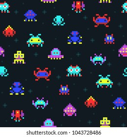Cute pixel robots, space invaders retro video computer game seamless vector pattern. Pixel monster colored in space, comic cartoon arcade pixelated illustration