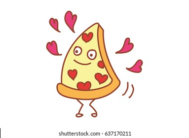 Cute Pizza in Love. Vector Illustration. Isolated on white background.