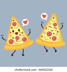 Cute pizza slice. Cartoon colorful design. Vector illustration