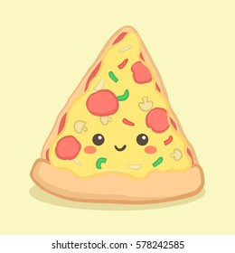 Cute Pizza Slice Food Vector Illustration Cartoon Character Face Fastfood Junkfood