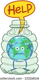 Cute planet Earth in minimalist cartoon style feeling distressed while keeping trapped in a big transparent plastic bottle. It is desperately asking for help through a speech bubble