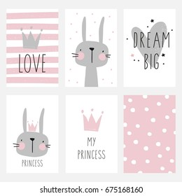 Cute planner, cards and notebook design. Cute bunny