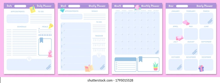 Cute planner templates. Daily, weekly, monthly and yearly planners. Schedule page journal, stationery calendar monthly, organizer diary. Vector illustration
