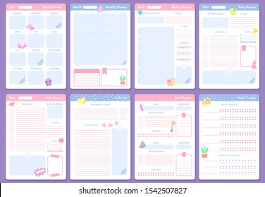 Cute planner templates. Weekly, monthly and yearly planners. To do list, goal planner and habit tracker pages design. Month organizer scrapbook schedule isolated vector icons set
