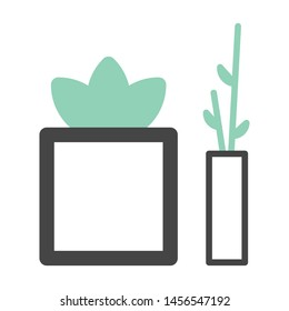 Cute plant vector illustration. Flat plan icon. Small and big size plant vase.