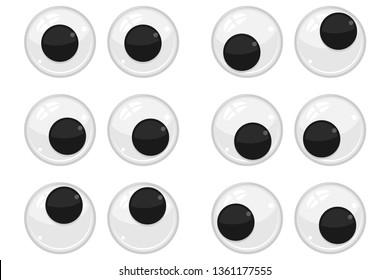 Cute plastic eyes for toys, dolls. Eyeballs vector cartoon set isolated on white background.