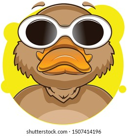cute platypus avatar with yellow background