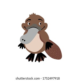 Cute platypus character vector stock illustration in flat style. Cartoon baby animal from Australia.