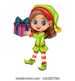 Cute Playful Christmas Elf.  Santa Claus Helper. Happy New Year, Merry Christmas Design Element. Isolated on White Background. Good for Christmas Cards. Children Cartoon Vector illustration