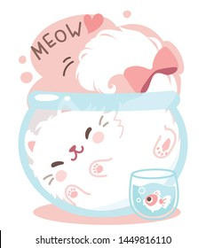 Cute playful white furry fluffy Persian cat, in fish bowl. Puss in fish bowl. Lovely, funny, so comfy. Gift tag, card, postcard, printing. Vector illustration.