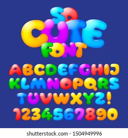 Cute plump alphabet. Vector set of multicolored and cheerful cartoon letters and numbers.