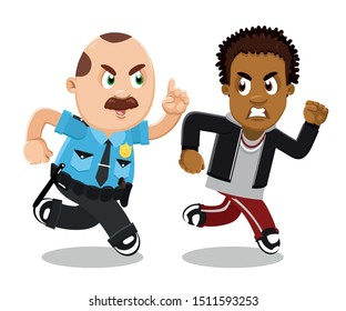Cute plump mustached policeman in blue uniform running and catching afro-american guy. African teen in hoody and sweatpants sprint away from cop. Vector cartoon isolated on white.